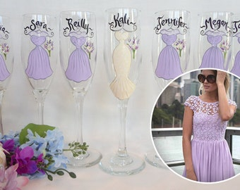 EXACT DRESS REPLICAS, Hand Painted Personalzied Wine Glasses, Replica of Your Dress Color & Styles,  Bridesmaid Gifts, Bridesmaid Wine Glass