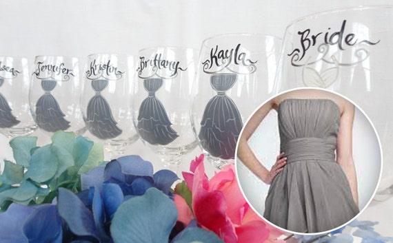 items similar to bridesmaid wine glasses  u0026quot exact dress replicas u0026quot  personalized bridesmaid wine