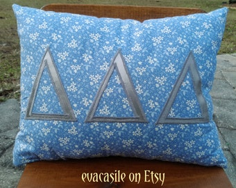 Delta Delta Delta Sorority Appliqued Pillow (2014-12-4)