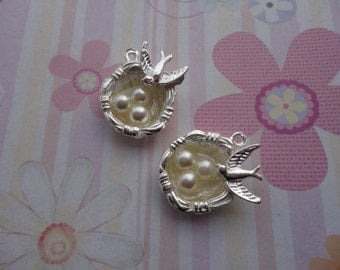 20pcs silver plated bird nest/bird egg findings 24mmx21mm