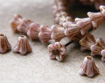 WHOLESALE Gold Wash & Pastel Pink Flower Czech Glass Beads, Baby Bell Flower Beads, 6x5mm (300pcs) NEW
