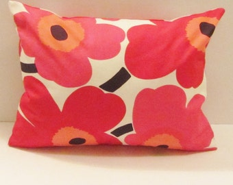 Red Marimekko pillow cover in red Pieni Unikko, authentic Marimekko fabric from Finland , 12 x16 and 12x20 inch, FREE SHIPPING Canada and US