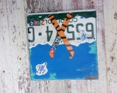 License Plate Art - Customized States Name Date - Skiier Skiing Adventure - Recycled Art Company - Salvaged Wood - Upcycled Artwork