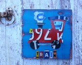 License Plate Art - Navy Red Funky Transportation Train Adventure Boys Nursery Room - Recycled Art Company - Wood - Baby Shower Toddler