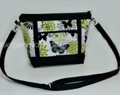 Choose Any Fabric in My Shop  Cargo Tote Purse with Exterior Snap Pockets OR Black Green Grey Butterfly OR Shoes