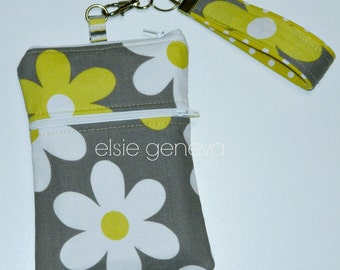 Grey Yellow Daisy Floral iPhone 6 Plus Phone Case with Wristlet Zipper Top Closure Optional Shoulder Strap Cross Body