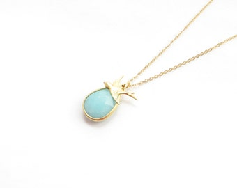 Mint Blue With Bird Gold Necklace, Blue And Gold Necklace, Flying Bird Necklace, Chalcedony Pear,  Everyday Jewelry