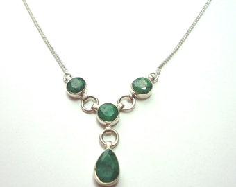 Emerald Necklace Rough Cut Genuine Emerald Y Necklace in Sterling with Solid Sterling Chain