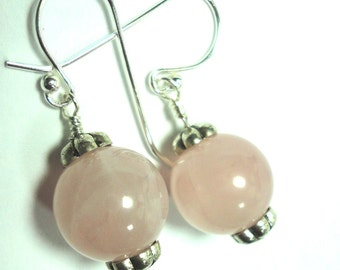 Pink Earrings Pink Rose Quartz Earrings with Sterling