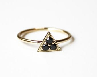 Triptych Ring -(Black Diamonds-14K yellow gold)