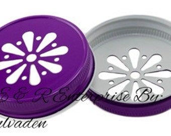 Beautiful PURPLE Daisy Cut Mason Jar Mug Lids Any Quantity! 1, 3, 6, 12, 15, 18, 24