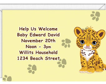 Jaguar Cub Invitations -- personalized -- with envelopes.  Standard Postage.  (51089)