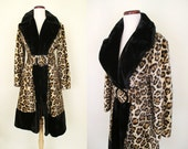 "Fabulous 1960's Designer Faux Leopard Fur Coat with Matching Belt by ""Muckerheide Furs Fashionbilt Casuals"" Rockabilly VLV Pinup Size-Medium"
