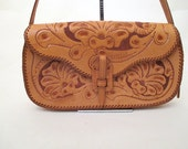Olé Beautiful 1950's Dead Stock Hand Tooled Mexican Leather Purse with Adjustable Strap Rockabilly VLV Pinup Girl Mexi Purse