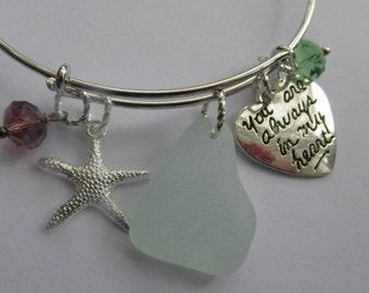 Bangle Bracelet CHarm Bracelet, Genuine Sea Glass Jewelry, Starfish, Seaglass Bracelet, Seaglass Jewelry