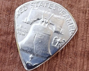 Coin Guitar Pick - Premium Quality - Handmade with a Gem BU Vintage 1958 Franklin Silver Half Dollar Coin - Artisan Coin Guitar Pick