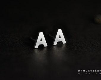 Sterling Silver Initial / Letter / Alphabet Stud Earrings
