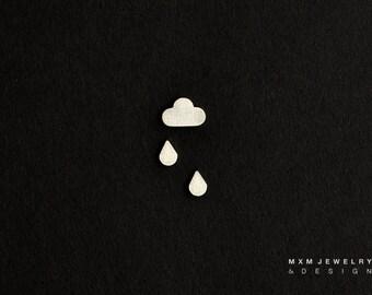 Sterling Silver Tiny Cloud & Rain Drops Stud Earrings