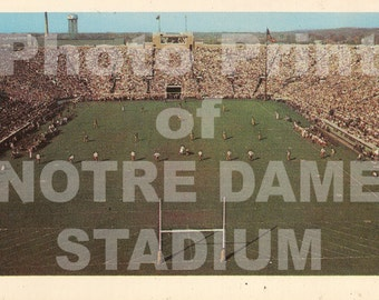 "Vintage 1960s photo print of Notre Dame Stadium with wooden ""H"" goal post Fighting Irish Knute Rockne Montana Lamonica Theismann"