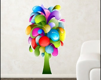 Peel and Stick Rainbow Tree Decal Removable and Repositionable Rainbow Tree Wall Sticker