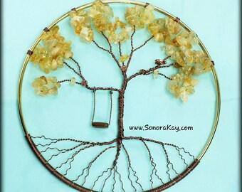 Citrine Tree Window Decor | Tree with Swing | Whimsical Wall or Window Ornament | Custom Made Tree | Gemstone Tree | Tree of Life | Nursery