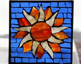 Mosaic SUN on blue background   Stained Glass SunCatcher or wall Decoration