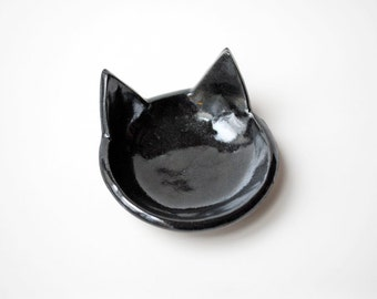 Metallic Black Cat Shaped Bowl, Ceramic, Pottery - Handmade, Ring Dish, Tea Bag Rest, Spoon Rest, Jewelry Dish - Halloween