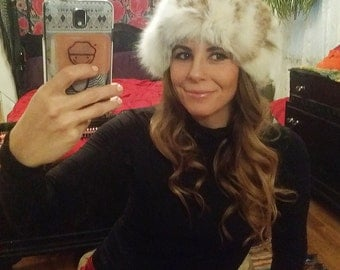 Vintage 1950s Cozy Boho RABBIT FUR Hat