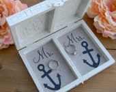 Nautical Ring Bearer Box Personalized Divided Wood Box Anchor Ringbearer In High Tide Or Low Tide I'll Be By Your Side Anchor Initials