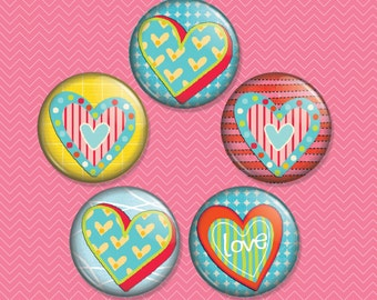 Hearts 1 inch Magnet Set of 5 (M0045)