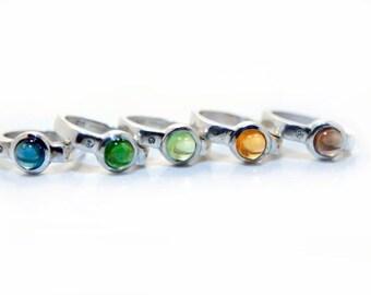 Green Brazilian Tourmaline and Diamond Ring