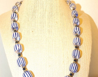 Blue Pinstriped   Necklace