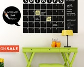 Chalk Board Wall Calendar Vinyl Wall Decal -Chalkboard Decals -Chalkboard Wall Planner -Christmas Gift -Chalkboard Wall Calendar Stickers
