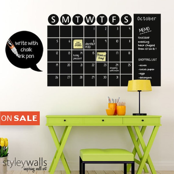Chalkboard Calendar Decal : Chalk board wall calendar vinyl decal by styleywalls