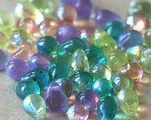 6x8mm Czech Glass Beads Easter Teardrop Beads  AB Mix - Beads for Jewelry Making Supplies -  (50 Beads)