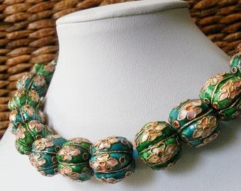 Big Bold Chunky Cloisonne choker necklace Copper Enamel Beaded Beautiful