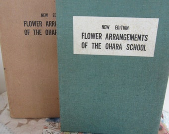 Vintage Flower Arrangements of the Ohara School Accordian Fold Cloth Bound Book 1952