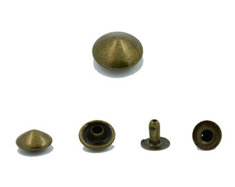 100 pcs.Antique Brass Cone Rivets Studs Decorations Findings 10 mm. Co Br 10 35 RV 3