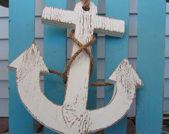Reclaimed Wood Anchor. Distressed Anchor. 12 Inch Wooden Anchor. Nautical Decor. Beach Decor. Made to Order