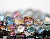 Crystal Glass Unique Stone-Shaped beads 15mm Sparkly Rose Green - (GM005-1)/ 38pcs