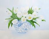 white tulip bouquet giclee print of original watercolor