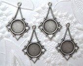 Antiqued silver plated filigree drops with 7mm round setting, lot of (4) - MZ132
