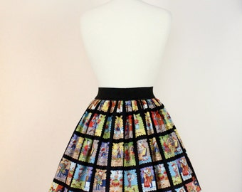 On sale !! Black Day of the Dead Loteria Skirt