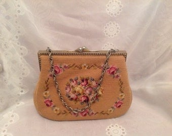 Vintage 1963 Needle Point Pocketbook Handbag Frame Martha Klein NYC