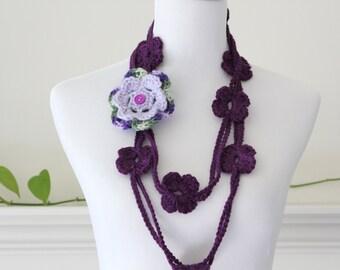 Crochet Circle Dark Purple Flower Lariat, Necklace