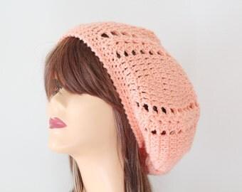 Crochet Peach Beret Slouchy Hat