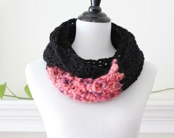Crocheted Black Dark Orange Infinity Scarf Neckwarmer Cowl