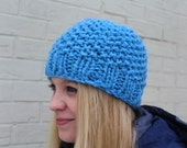 Bright Blue Chunky Knit Hat, Chunky Knit Beanie Hat, Blue Chunky Knit Toque, Warm Knit Hat, Big Knit Blue Hat, Knit Toque, Knit Cap in Blue