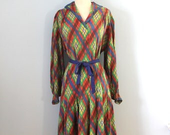 1940s silk dress / 40s plaid silk dress / Stained Glass dress