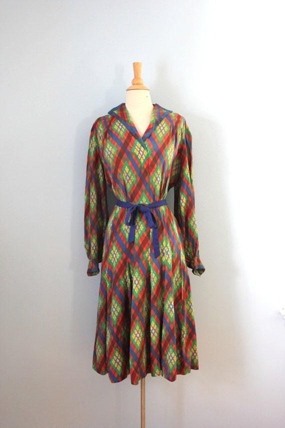 1940s Dress Silky Stars Vintage 40s Dress: 1940s Silk Dress / 40s Plaid Silk Dress / Stained Glass Dress